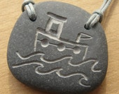 fishing boat pebble necklace