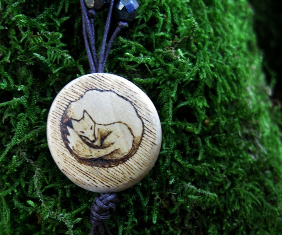 "Multi strand shell, wood and glass necklace with woodburned pendant ""Fox Den"""