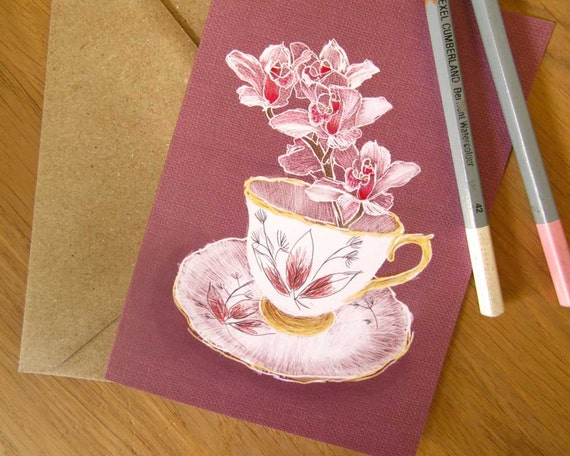 Tea cup note card - blank inside - for her - floral illustrated greeting card - recycled envelope - compostable packaging
