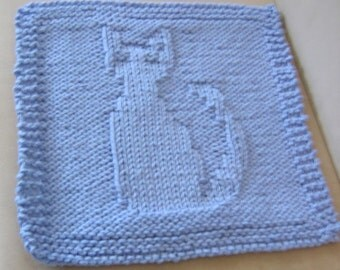 Pattern for Knitted Cat Dish or Wash Cloth