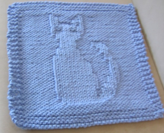 Knitted Cotton Dish Towel Pattern : Pattern for Knitted Cat Dish or Wash Cloth