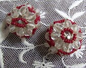 VINTAGE Pair BEADED Buttons Red And Clear GLITZ