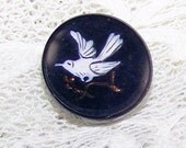 Pr. VICTORIAN Black Glass Buttons Painted White BIRDS Multi Media Jewelry