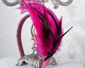 Hot Pink Feather Fascinator Headband Handmade Fuchsia Ladies Feather Headband - Weezi