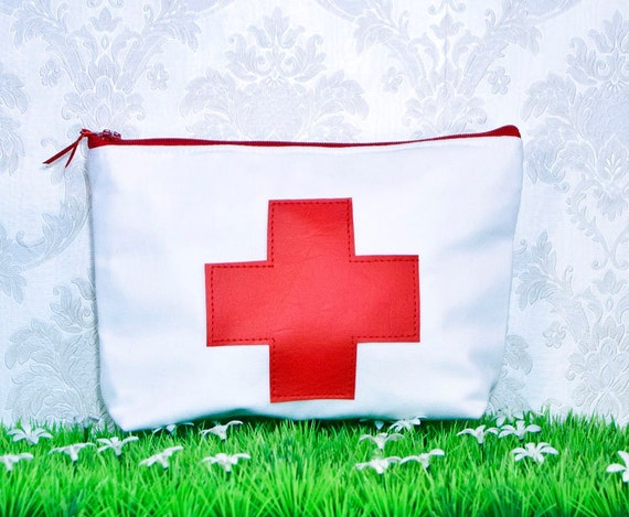 Red Cross Zipper Pouch Make Up Bag Cosmetic Case
