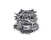 cat coffee tea linocut print on thai handmade paper blockprint