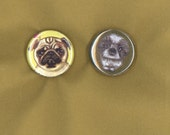 Dog pin set of 2 from paintings pug and lhasa apso