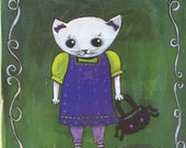 postcard Emily the cat gothic kitty spider purse