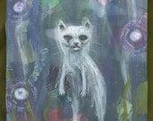 apparition kitty cat ghost feline orbs acrylic painting purple