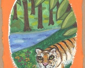 Tiger in the forest OOAK painting handmade paper