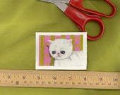 sad kitty iron on patch pink allergies itchy