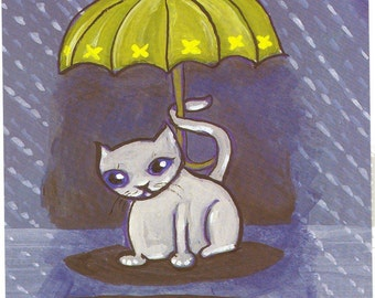 postcard rain cat and mouse