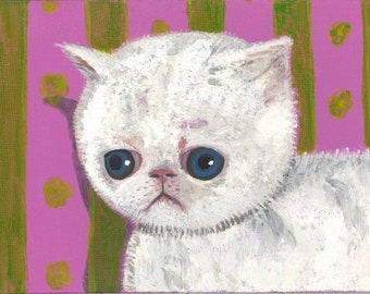 depressed cat postcard allergies itchy white kitty ennui