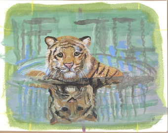 Tiger in the water painting OOAK