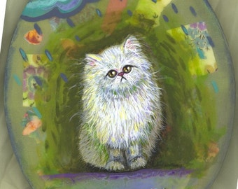 persian kitty cat puff ball in the rain oval canvas OOAK