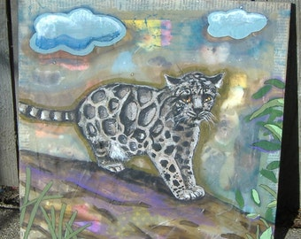 Clouded Leopard acrylic painting on wood