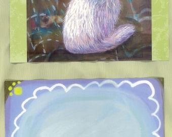 Persian cat postcard in the rain