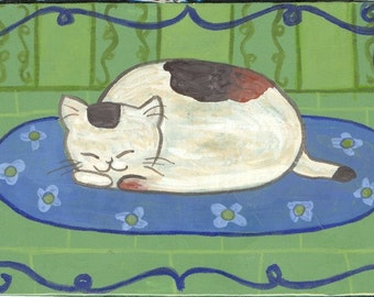 Snoozing calico on rug portrait cat acrylic original painting