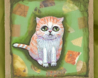 Orange and white tabby OOAK portrait acrylic painting cute cuddly