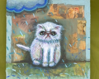 Its raining again white kitty cat persian exotic shorthair painting