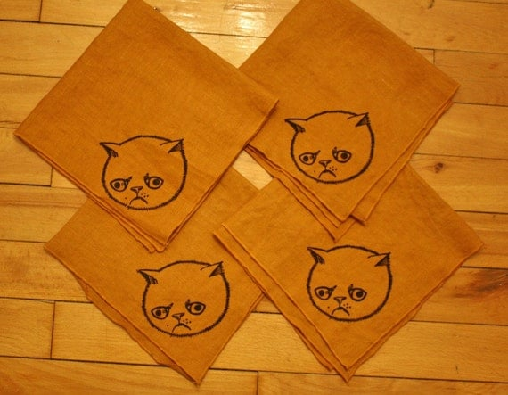 Mustard yellow upcycled linen napkin handprinted set of 4