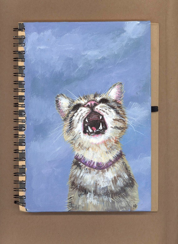 Yelling kitty journal original painting tabby in clouds
