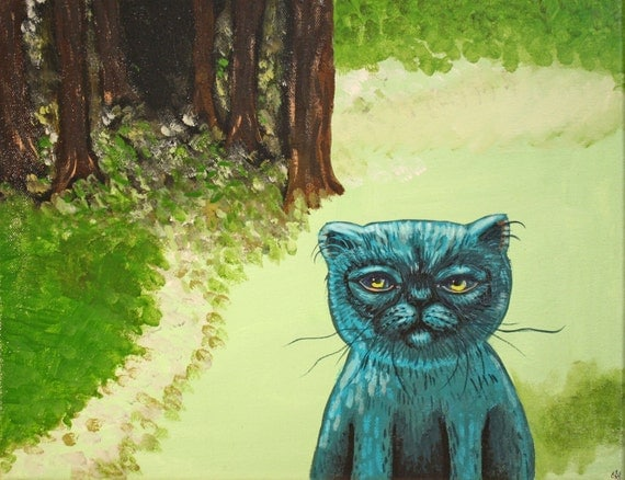 Kitty in the woods fantasy surreal teal cat