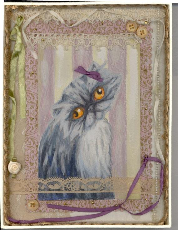 Grey persian postcard shadow box dusty rose bow sweetness