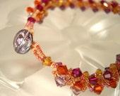 Spiral Swarovski Bracelet in Shades of Pink Purple SALE