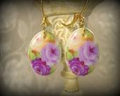 Porcelain Purple Rose Oval Earrings Leverbacks