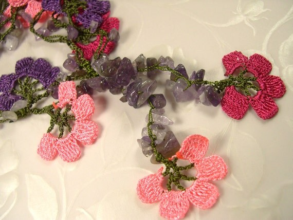 Crochet Necklace Needle Lace Purple Pink Peach Oya Flowers SALE