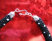 Black and White Bead Crochet Necklace