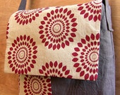 Sumor Red Cotton and Charcoal Linen Shoulder Bag- Reserved.