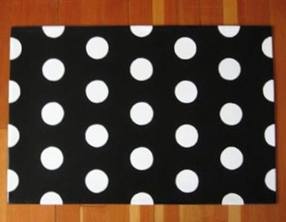 Items Similar To Black And White Polka Dots Rug Custom