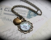 New Lower Price New York Authentic Map Necklace with Your Choice of Charm