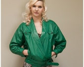 30% OFF Vintage 80s Green Cropped Leather Belted Biker Jacket