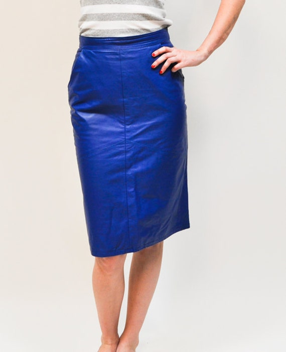 80s Electric Blue Leather Pencil Skirt