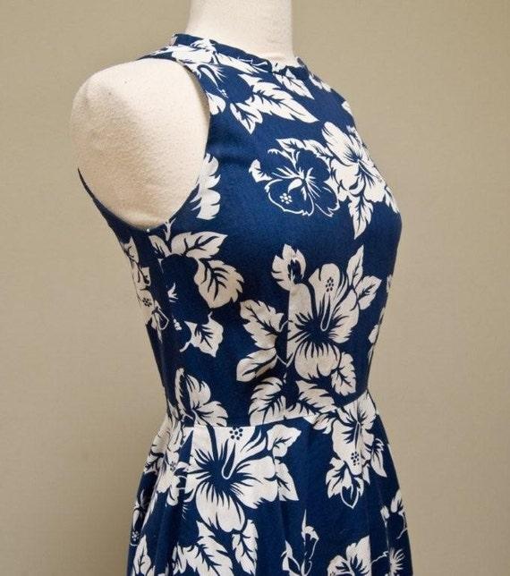 Hawaiian Print Full Length Tank Dress  with Pockets Bust 34