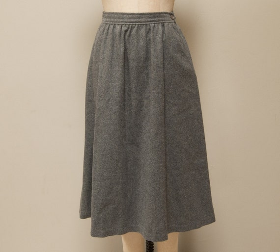 Vintage 80s High Waisted A-Line Wool Heather Gray Skirt