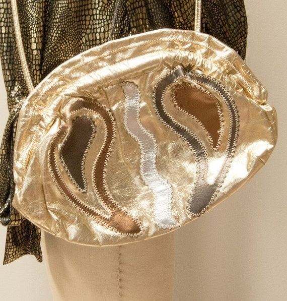 Vintate 80s Metallic Patchwork Leather Handbag with Clamshell Opening