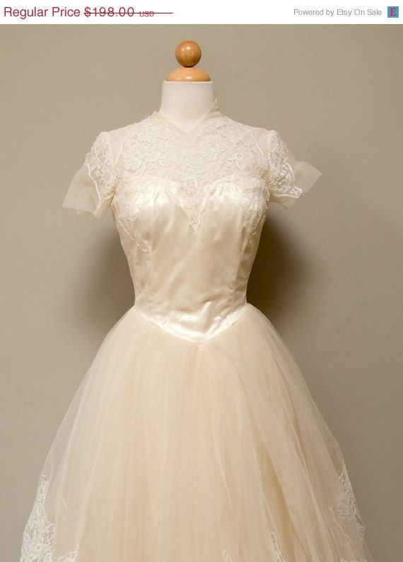 Vintage 50s Ivory Couture Cupcake Princess Wedding Gown by Cahill Ltd