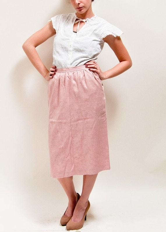 Vintage Pink High Waisted Linen Secretary Skirt by Evan Picone