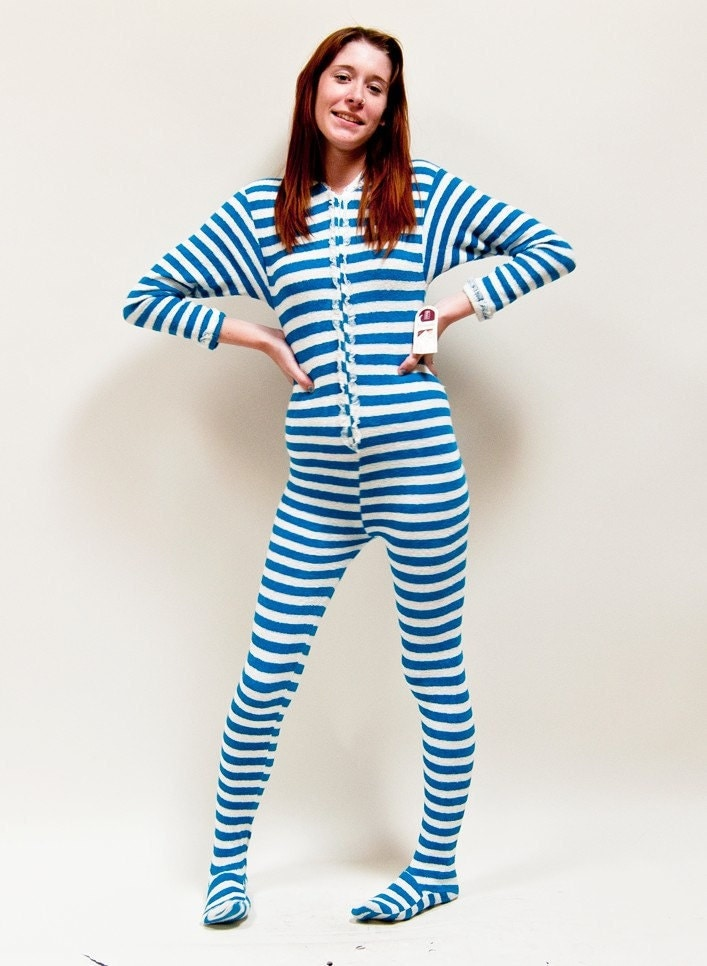 Vintage Stretchy 80s Terry Cloth Striped Onesie Footie