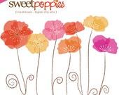 Digital Scrapbooking Clip Art Set - Sweet Poppies