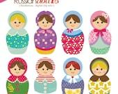 Digital Scrapbooking Clip Art Set - Matryoshka Dollies