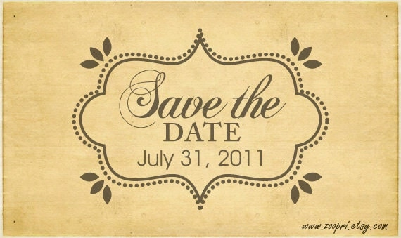 Rubber Stamp Design - Save The Date Fancy