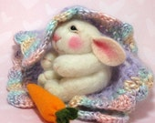 Bunny CLASS Wool Needle Felted  BUNNY Class in PDF files (Companion kit available and sold separately)