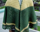 Cape Green and Yellow -  Oregon Fan Colors - Handmade Crochet - Fall Winter Accessory