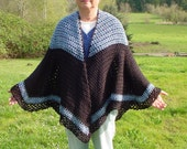 Blue and Back Cape   - Handmade Crochet - Fall Winter Accessory