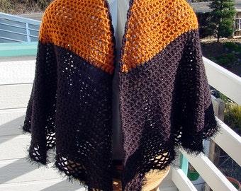 Butterscotch and Black Cape - Handmade Crochet - Winter Fall Accessory